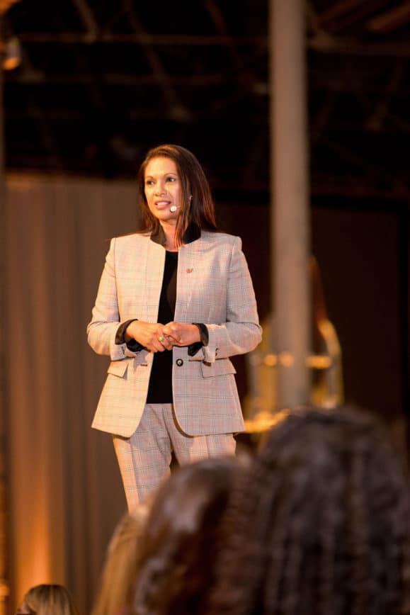 Transparency activist Gina Miller speaking at Look The Business 2019